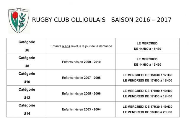 Horaires rugby club ollioulais saison 2016 1
